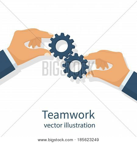 Effective teamwork concept. Gear hold in hands businessman. Cooperation. Vector illustration flat design. Template banner for web sites, space for text. Achieving results joint efforts.