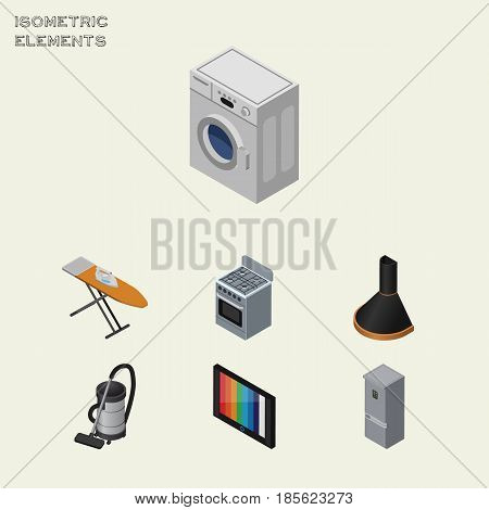 Isometric Device Set Of Kitchen Fridge, Television, Vac And Other Vector Objects. Also Includes Cloth, Hood, Device Elements.