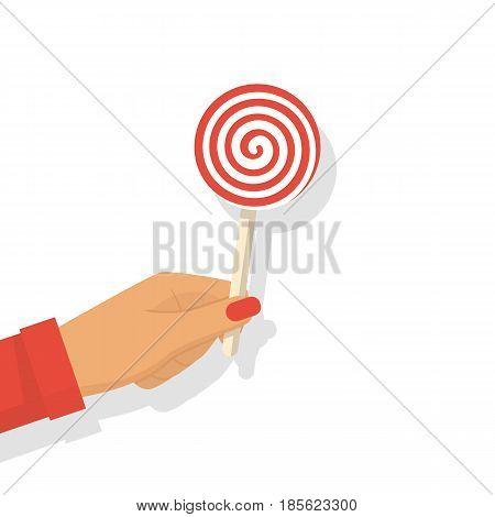 Lollipop in hand. Female hold striped candy. Vector illustration flat design. Isolated on white background. Candy on a wooden stick.