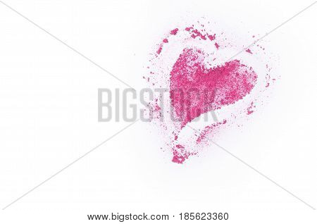 Broken Eye Shadow In Heart Shape Isolated On White Background.