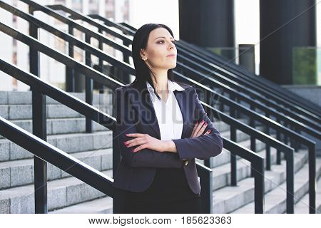 Confident Business Lady. Portrait Of Successful Business Woman In Smart Casual Wear Keeping Arms Cro