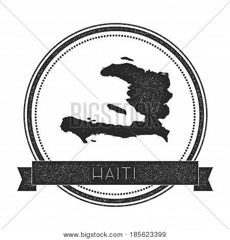 Retro Distressed Haiti Badge With Map. Hipster Round Rubber Stamp With Country Name Banner, Vector I