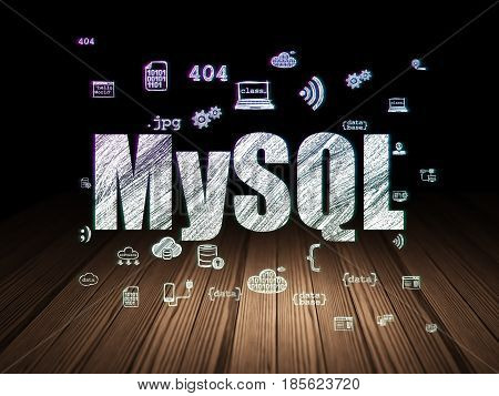 Programming concept: Glowing text MySQL,  Hand Drawn Programming Icons in grunge dark room with Wooden Floor, black background