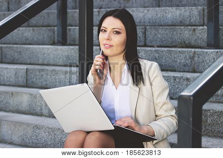 Smart And Beautiful. Portrait Of Attractive Business Woman In Smart Casual Dress Looking At The Came