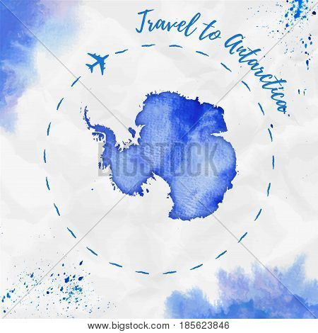 Antarctica Watercolor Map In Blue Colors. Travel To Antarctica Poster With Airplane Trace And Handpa