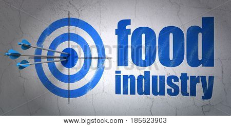 Success Industry concept: arrows hitting the center of target, Blue Food Industry on wall background, 3D rendering