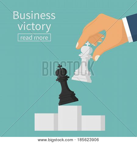 Business victory concept. Strategist holding in hand chess figure king. Planning and management. Vector illustration flat design. Isolated on background. Winning success. Chess on the podium.