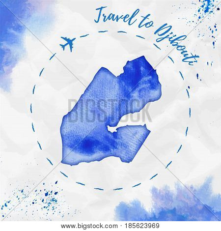 Djibouti Watercolor Map In Blue Colors. Travel To Djibouti Poster With Airplane Trace And Handpainte