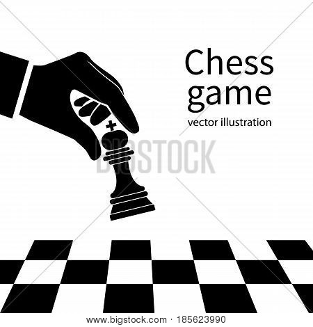 Male hand holding chess figure silhouette. Template game pictogram. Concept planning and management. Vector illustration flat design. Isolated on white background.