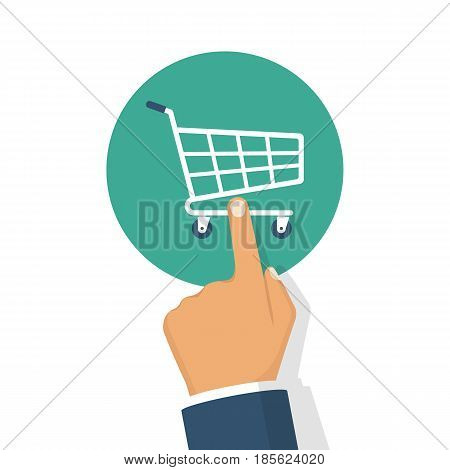 Online shopping concept. Hand pressing the button trolley. E-commerce. Finger touching basket. Vector illustration flat design. Isolated on white background.