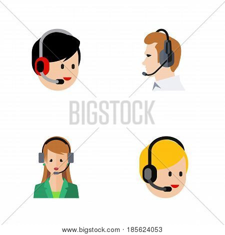 Flat Hotline Set Of Secretary, Telemarketing, Call Center And Other Vector Objects. Also Includes Call, Human, Support Elements.