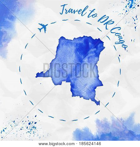 Dr Congo Watercolor Map In Blue Colors. Travel To Dr Congo Poster With Airplane Trace And Handpainte