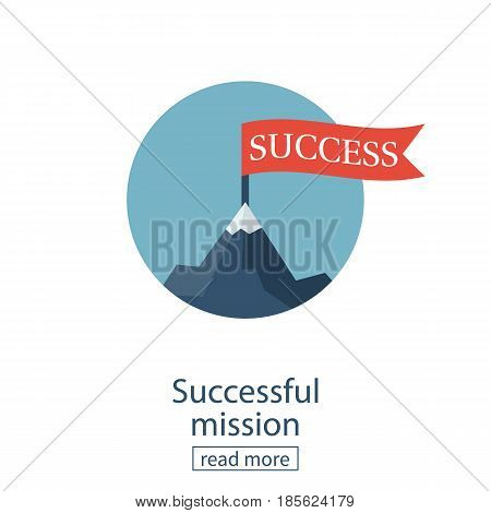 Successfull mission icon business concept. Red flag on mountain peak. Vector illustration flat design. Isolated on white background. Goal achievement. Symbol of victory, winning.