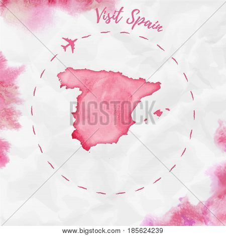 Spain Watercolor Map In Red Colors. Visit Spain Poster With Airplane Trace And Handpainted Watercolo
