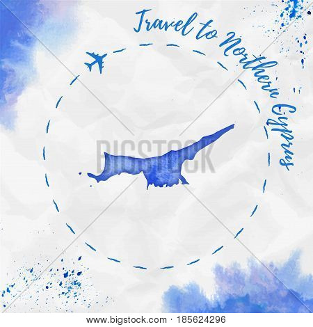 Northern Cyprus Watercolor Map In Blue Colors. Travel To Northern Cyprus Poster With Airplane Trace