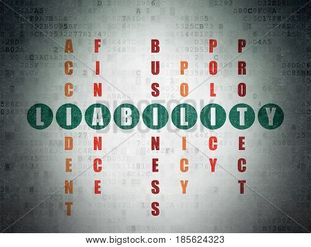 Insurance concept: Painted green word Liability in solving Crossword Puzzle on Digital Data Paper background