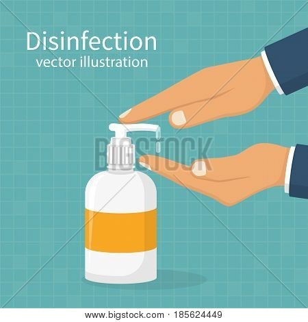 Disinfection concept. Liquid soap with pumping from bottle. Applying a moisturizing sanitizer. Man washing hands. Vector illustration flat design. Isolated on blue background. Place for text, template poster