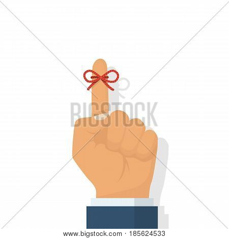 Reminder icon. Forefinger with red ribbon. Important symbol. Vector illustration flat design. Isolated on white background. Important symbol. Forgetfulness.