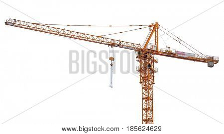 orange hoisting crane isolate on white background