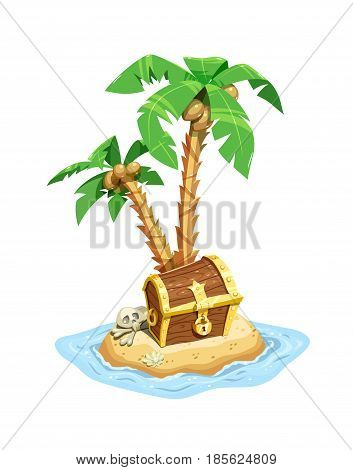 Pirates treasure island with chest and coconut palms. Save case riches. Isolated white background. Vector illustration.