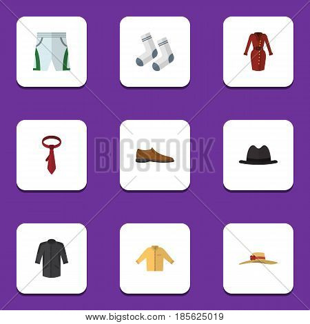 Flat Garment Set Of Foot Textile, Male Footware, Elegant Headgear And Other Vector Objects. Also Includes Dress, Fedora, Foot Elements.