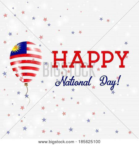 Malaysia National Day Patriotic Poster. Flying Rubber Balloon In Colors Of The Malaysian Flag. Malay