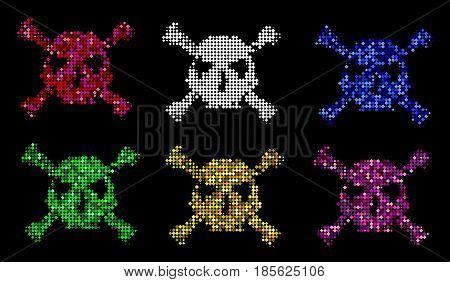 Halftone Skull, Line, Wave. Design Element. Invitation, Party. Billboard, Flyer. Icon. Mosaic, Pixel