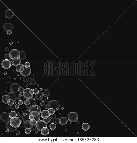 Random Soap Bubbles. Bottom Left Corner With Random Soap Bubbles On Black Background. Vector Illustr