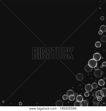 Random Soap Bubbles. Abstract Right Bottom Corner With Random Soap Bubbles On Black Background. Vect