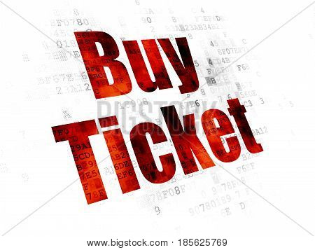 Tourism concept: Pixelated red text Buy Ticket on Digital background