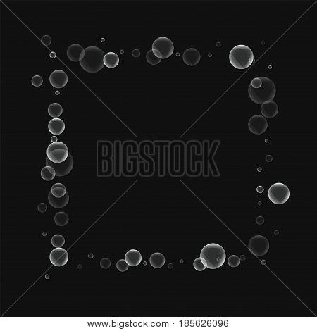Random Soap Bubbles. Square Abstract Border With Random Soap Bubbles On Black Background. Vector Ill