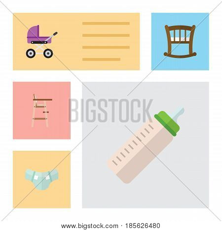 Flat Child Set Of Child Chair, Stroller, Infant Cot And Other Vector Objects. Also Includes Baby, Stroller, Cot Elements.
