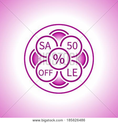 Creative sign of the sale in a pink tone made up of circles in the form of an abstract flower with an indication of the discount