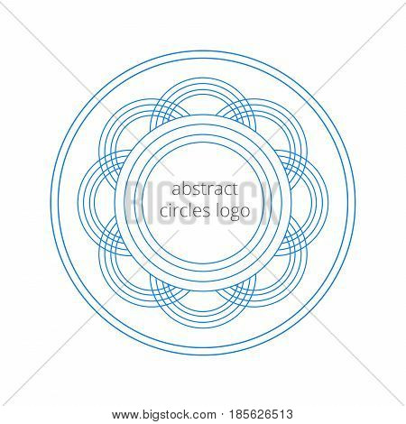 Geometrical logo template created from the circles and forms an abstract flower