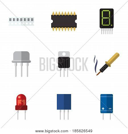 Flat Device Set Of Recipient, Receiver, Receptacle And Other Vector Objects. Also Includes Access, Soldering, Receiver Elements.