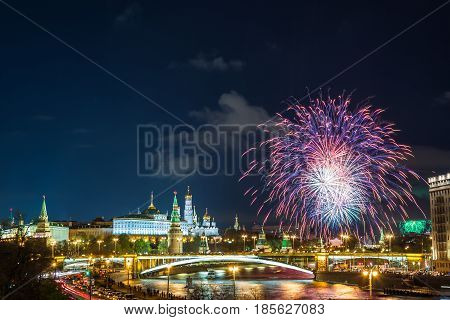 View of Kremlin with fireworks during blue hour in Moscow, Russia. 9 May Victory day celebration in Russia.