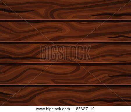 Wood horizontal planks background of dark brown color with wavy pattern and deep fissures vector illustration