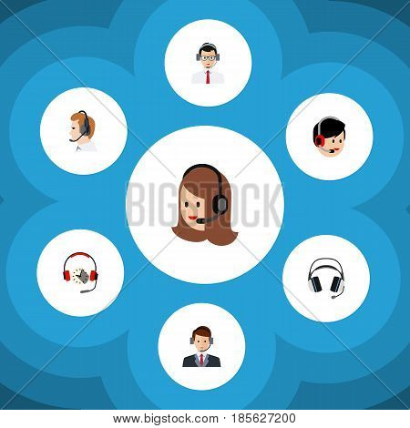 Flat Telemarketing Set Of Operator, Headphone, Telemarketing And Other Vector Objects. Also Includes Support, Center, Hotline Elements.