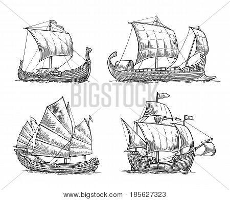 Trireme caravel drakkar junk. Set sailing ships floating on the sea waves. Hand drawn design element. Vintage vector engraving illustration for poster label postmark. Isolated on white background.