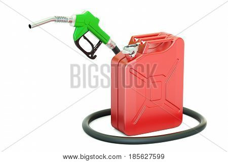 fuel pump nozzle with jerrycan 3D rendering isolated on white background