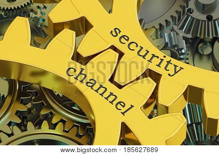 Security Channel concept on the gearwheels 3D rendering