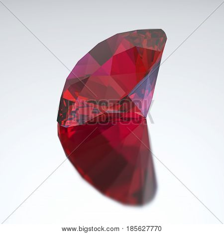 3D illustration diamond red ruby with reflection on a gray background
