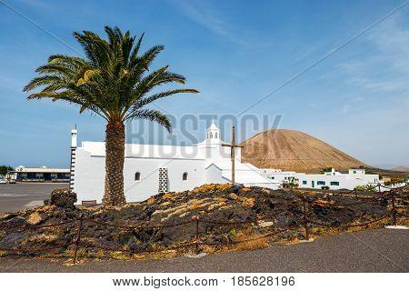 Church Of  Nuestra Senora De Los Volcanes In Mancha Blanca, Lanzarote, Spain