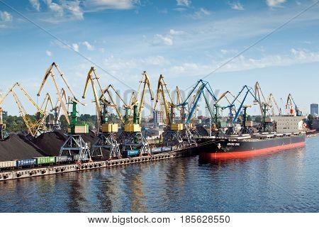Riga, Latvia - July, 2012: Port in Riga city, Latvia