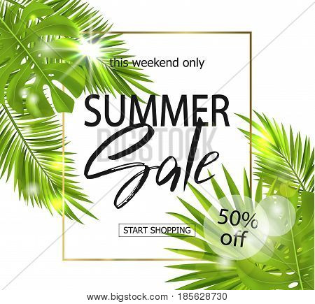 Summer sale banner, poster with palm leaves, jungle leaf and handwriting lettering. Floral tropical background. Vector illustration EPS10.