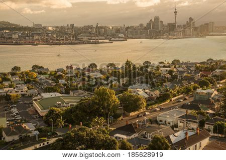Auckland cityscape view from the top of Mt.Victoria, Devonport of Auckland, New Zealand.