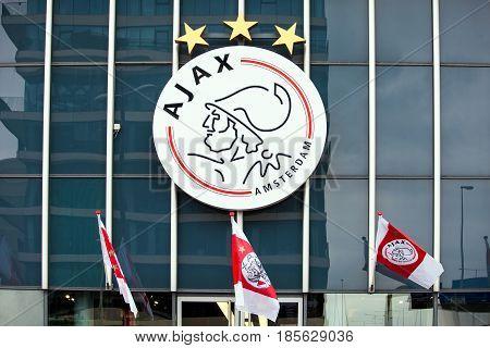 Amsterdam, Netherlands - April, 2017: Ajax logo on Amsterdam Arena, Netherlands
