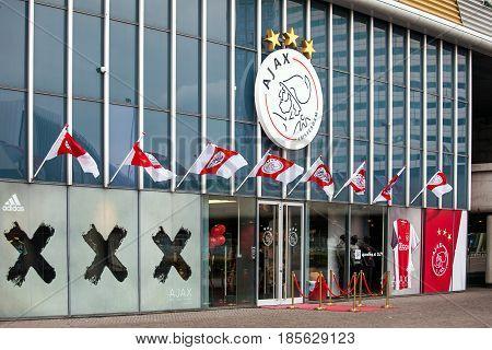 Amsterdam, Netherlands - April, 2017: Ajax fotball club shop on Amsterdam Arena, Netherlands