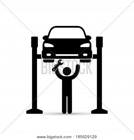Car on lift and mechanic repairman icon, vector silhouette. Car service repair simple black illustration.