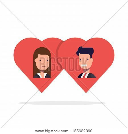 Man and woman in love in two hearts together. Couple wedding symbol idea, people dating concept flat style illustration isolated on white clipart